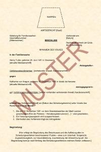 Scheidungsurkunde: Das Muster zeigt, wie das Dokument aussehen kann.