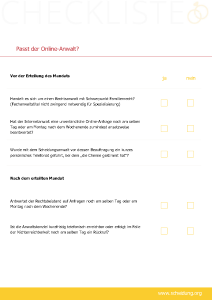 Passt der Online Anwalt? - kostenlose Checkliste von scheidung.org zum Download