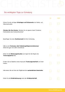 Angelegenheiten des täglichen Lebens - kostenlose Checkliste von scheidung.org zum Download